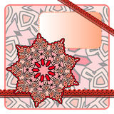 Red Frame. Drawing of a frame with red mandala in indian style Stock Photos