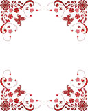 Red frame floral border with butterflies and hearts Royalty Free Stock Images