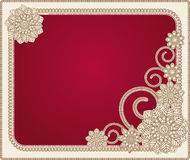 Red   frame with floral patterns Stock Image