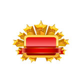 Red frame and gold stars. Vector Royalty Free Stock Photos