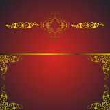 Red frame with golden arabesque Stock Photography