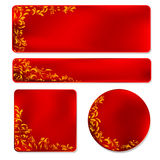 Red frame with golden ornament. Set of four red labels with golden ornament Royalty Free Stock Image