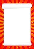 Red frame for greetings, illustration. Red frame for greetings with white sheet of paper, illustration stock illustration