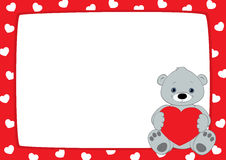 Red frame and grey teddy, horizontal Royalty Free Stock Images