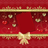 Red frame with hearts and elements Royalty Free Stock Images