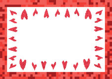 Red frame with hearts pixel Stock Photography