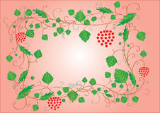Red frame with leaves, berries and place for text Stock Photography