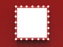 Red frame with light bulbs surround stock photo