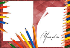 Red frame with pencils Royalty Free Stock Photography