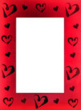 Red frame for photo with hearts. Saturated red frame for photo with hearts on a white background Stock Image