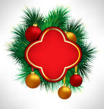 Red Frame on pine branches with Christmas balls Royalty Free Stock Images