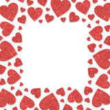 Red frame with red hearts of sequin confetti. Glitter powder sparkling golden background Stock Photos