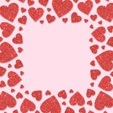 Red frame with red hearts of sequin confetti. Glitter powder sparkling pink background. Royalty Free Stock Photo