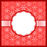 Red frame with snowflakes Royalty Free Stock Image