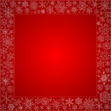 Red frame from snowflakes for a card Royalty Free Stock Images