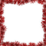 Red frame from tinsel on white Stock Photo