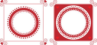 Red frames. Design elements for Valentine's day Royalty Free Stock Photos