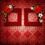 Red frames with roses Royalty Free Stock Images