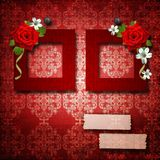 Red frames with roses Royalty Free Stock Photography