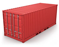 Red freight container isolated Royalty Free Stock Photo