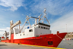 Red freight pallet carrier ship Royalty Free Stock Image