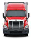 Red Freightliner Cascadia truck front view. Royalty Free Stock Image