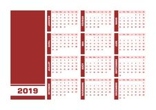Red 2019 French calendar. Vector illustration with blank space for your contents. All elements sorted and grouped in layers for easy edition. Printable royalty free illustration