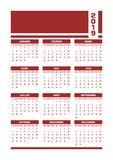Red 2019 French calendar. Vector illustration with blank space for your contents. All elements sorted and grouped in layers for easy edition. Printable stock illustration