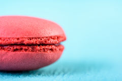 Red French Macaroon On Blue Stock Image