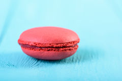Red French Macaroon On Blue Royalty Free Stock Image