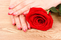 red french manicure Stock Image