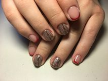 red French manicure with black pattern stock photography