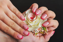 Free Red French Nail Art With Flower Royalty Free Stock Photo - 68647625