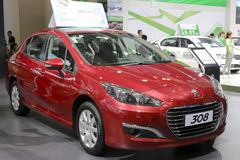 Red french peugeot 308 car Royalty Free Stock Photo