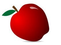 Red fresh apple. Illustration of an apple icon. Red apple with leaf. Vector illustration royalty free illustration