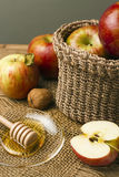 Red fresh apples and honey Royalty Free Stock Photo