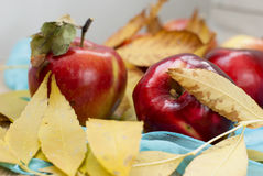 Red fresh apples. With leaves Stock Photo