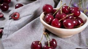 Red fresh cherries stock video footage