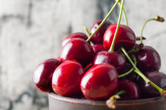 Red fresh cherry in cup Stock Photo