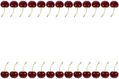Red fresh cherry fruit background, frame and border, empty space.  royalty free stock photos