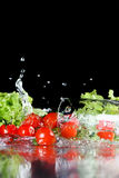 Red fresh cherry tomatoes and green lettuce in water Stock Image