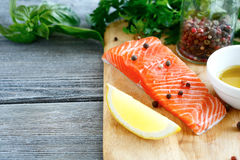 Red fresh fish on a cutting board Royalty Free Stock Images