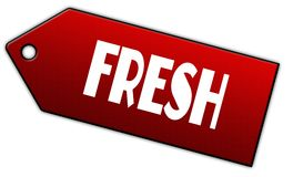 Red FRESH label. Stock Images