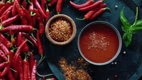 Red Fresh Organic Chilli Pepper On Wooden Table stock video footage
