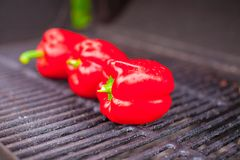 Red fresh peppers on a outdoor barbecue Stock Photography