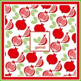 Red Fresh Pomegranate Pattern Art Design Food Vitamin Vector Ornament. Sliced Pomegranates And Fruit Seeds Sweet Graphical Royalty Free Stock Images