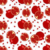 Red fresh pomegranate pattern . Royalty Free Stock Photos