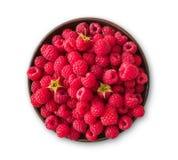Red fresh raspberries bowl isolatedon white Stock Photo