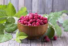 Red fresh raspberries on brown rustic wood background. Bowl with natural ripe organic berries with peduncles, green leaves. Red fresh raspberries on brown rustic Stock Images