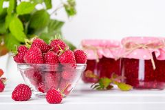 Red fresh raspberries in a glass bowl with green leaves. On white background Stock Photography